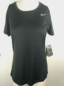 Nike ~ Dri Fit ~ Womens Large ~Black Training Shirt ~ swoosh ~ Light Weight NWT