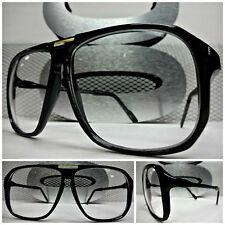 OVERSIZED CLASSIC VINTAGE RETRO Style NERD SMART EYE GLASSES Black Fashion Frame