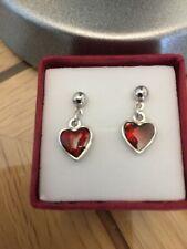 Abalone Paua Shell Red Heart Stud Earrings Silver Fashion Womens Girls Jewellery