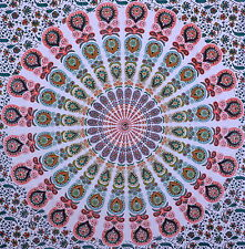 LARGE INDIAN BEDDING SHEET TWIN BEDSPREAD TAPESTRY THROW Mandala Ethnic India