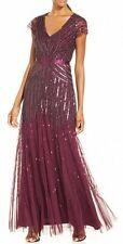 Adrianna Papell Dress Sz 2 Currant Purple Beaded Mesh Cap Long Evening Gown