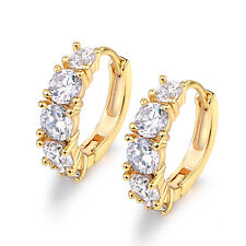 Exquisite Birthday Gifts Women 18K Gold Filled Round Crystal CZ Huggie Earrings