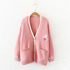 Korean Mori Girl Sweet Lolita Cute Bunny Pattern Knitted Sweater Cardigan Coat