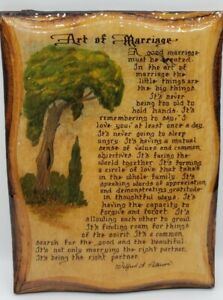 The Art Of Marriage Wilford A Peterson Poem Vintage Wall Hanging The Wood Eye