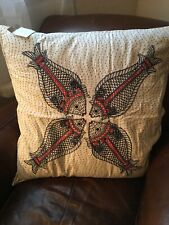 Pottery Barn Kissing Fish Embroidered Pillow Cover