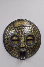 African Mask Baluba Wood Brass Yellow Blue Red Beaded Mask Luba