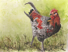 Pretty Rooster painting reproduction print 8 x 10 on linen card stock