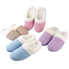 Women's Cable Knit Clog Slippers Fur Lined Cuff Memory Foam House Indoor Shoes