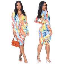 Sexy Women Colorful Print Deep V Neck Long Sleeves Bodycon Clubwear Party Dress
