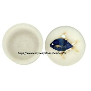 Salt Cellar with Lid Handmade Marble Stone For Table Decor and Small Jewellery