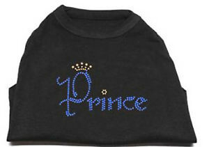 PRINCE Black Dog Tank Shirt Top  Tee T-Shirt Rhinestone crown Pet Shirts