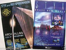 "STYX & REO SPEEDWAGON 2 U.S. PROMO POSTERS: ""ARCH ALLIES LIVE & BRAVE NEW WORLD"""