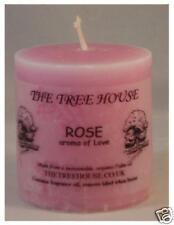 TWO Rose scented Church Candles,  5cm x 5cm. 12 hours burning time