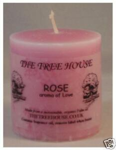 FOUR Rose scented Church Candles, 5cm x 5cm. 12 hours burning time