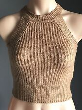 Vintage 70's  GLASSONS High Neck Chunky Knit Sleeveless Crop Top Brown Size S/8