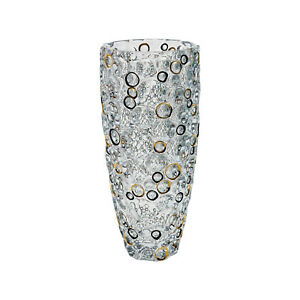 Bohemian Crystal Hand-Crafted Decorative 13.5 Inches Vase, Gold and Black Circle