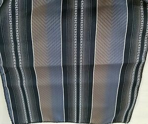 "11.5"" Square Handkerchief Polyester? Nice Pattern black, blue & brown  New"
