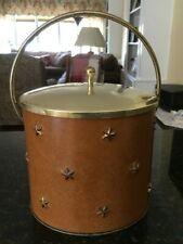Vintage Mid Century Leather Brass Ice Bucket