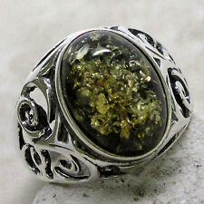 GORGEOUS GREEN BALTIC AMBER 925 STERLING SILVER RING SIZE 5