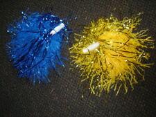 """2- Full 12"""" Blue & Gold Cheerleader Pom Pon Poms Costume Football Lot Dd"""