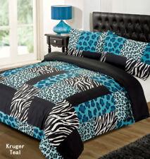 LEOPARD ZEBRA ANIMAL PRINT BLUE BLACK SINGLE bed QUILT DOONA DUVET COVER SET