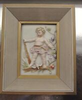 "Vintage Old Wood Frame Ceramic ""Child"" Embossed Relief Picture"