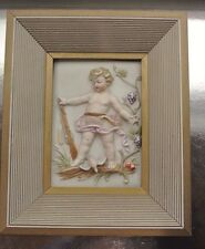 """Vintage Old Wood Frame Ceramic"""" Putto Child"""" Embossed Relief Picture"""