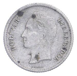SILVER Roughly Size of Dime 1944 Venezuela 1/4 Bolivar World Silver Coin *765