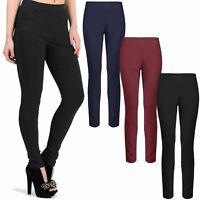 WOMENS LADIES ELASTICATED STRETCH SKINNY POCKET TAPERED SLIM CIGARETTE TROUSERS