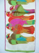 New 100% Silk Oblong Scarf Art Animal Pigeon Ivory
