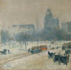 Childe Hassam Winter in Union Square Giclee Art Paper Print Poster Reproduction