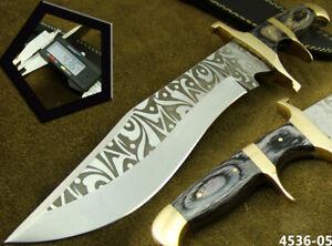 ALISTAR CUSTOM HANDMADE ACID ETCH STAINLESS STEEL HUNTING BOWIE KNIFE (4536-5