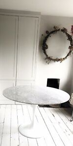 Marble Eero Saarineen Style Tulip Round Italian Carreira Dining Table 90cm