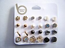 Assorted Pack Of 12 Pierced Earrings Flowers Balls Gold Silver Pearl New