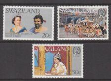1977 Swaziland Queen Elizabeth 11 Silver Jubilee set of 3 mint stamps.