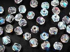 Czech Glass LARGE HOLE Faceted Beads 10mm (10x9.5mm) Crystal AB 40 pieces, P502