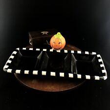 "Hallmark 3 Section Halloween Ceramic Candy Tray Dish Pumpkin Black White 12"""