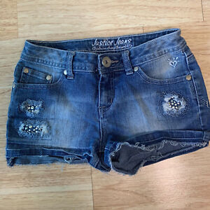 Justice Simply Low 10 Reg Denim Jean Shorts Bling Distressed Excellent Cond