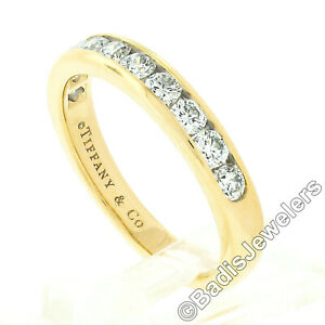 Tiffany & Co. 18k Yellow Gold 1ct Channel Round Diamond Wedding Band Ring w/ Box