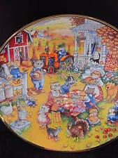 Franklin Mint Bill Bell A PURRFECT FEAST Cat Thanksgiving On farm   Ltd Ed Plate