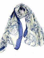 B64 Abstract Letter H Horse Carriage Blue & White Scarf Wrap Shawl Boutique