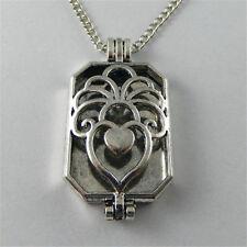 Locket Necklace Pendant Oil Diffuser 70cm Silver Alloy Square Hollowed Hearts