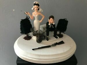 Cake Topper Funny Bridal Wedding Day Bride Groom Going Gone Hunting Theme