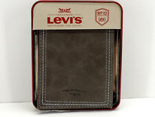 Levi's Leather Wallet Bifold Gray RFID Protection New In Box!
