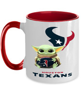 TEXANS Coffee Mug, Pink Two Toned Houstan TEXANS Yoda Coffee Mug Gift