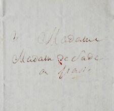 Rare lettre littéraire du marquis de Sade, sur sa pièce Tancrède
