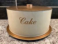 Vtg Decoware Cream Copper Mid Century MCM Metal Cake Carrier Saver USA