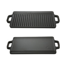 Flat Cast Iron Reversible Griddle Pan Preseasoned Lodge Camping Patio BBQ Grill