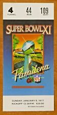 Super Bowl XI Ticket Oakland Raiders Win Their First Super Bowl 1977