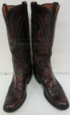 Lucchese Black Cherry Lone Star Cowboy Boots Sz 8 AA